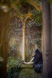 Ung goth med en huv som poserar sammanträde Arkivbilder