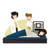 Ung gravid kvinna på ultraljudet, vård- kontroll illustration vektor royaltyfri illustrationer