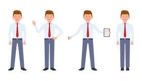 Ung, gullig lycklig kontorsarbetare i formella kläder som står med anmärkningar, vinkande hälsningar, handstil som ler vektor illustrationer