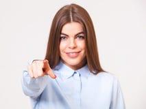 Ung härlig affärskvinna som pekar på dig Royaltyfria Foton