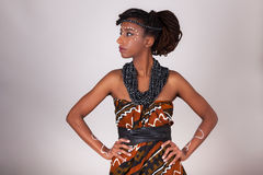 Ung härlig afrikansk kvinna som bär traditionell kläder och j royaltyfri foto