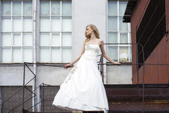 Ung härlig blond kvinna i brud- klänning royaltyfria bilder