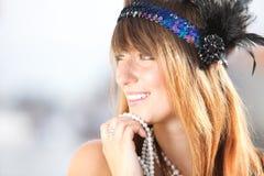 Ung härlig blond kvinna20-talstil Tappningkvinna i 20-talstil Royaltyfri Foto