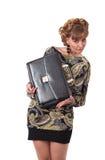 Ung härlig flicka, en affärskvinna med en portfölj arkivfoton