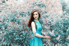 Ung härlig flicka i en sommardag som går bland blommorna av lilan i parkera Royaltyfria Foton