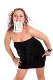 Ung härlig flicka med dollar royaltyfria bilder