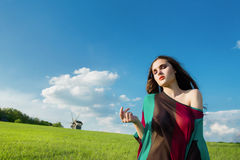 Ung härlig flicka med långt mörkt hår i grönt fält Fotografering för Bildbyråer