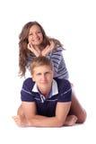 Ung härlig flicka som över rymmer hennes händer i en horn- modell honom royaltyfria foton