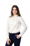 Ung härlig kvinna i den vita skjortan Royaltyfria Foton