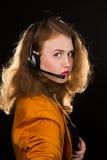 Ung härlig kvinna-operatör arkivfoton