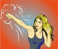 Ung härlig kvinna som stansar och boxas Begreppsvektoraffisch i retro komisk stil för popkonst royaltyfri illustrationer