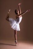 Ung härlig kvinnabalettdansör i ballerinakjolen som över poserar på tår royaltyfri bild