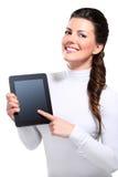 Ung härlig lycklig affärskvinna med tableten fotografering för bildbyråer