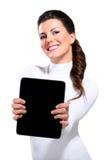 Ung härlig lycklig affärskvinna med tableten royaltyfri foto