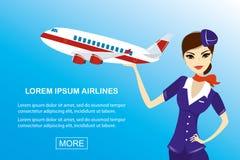 Ung härlig lyxfnask och flygplan, banermall stock illustrationer