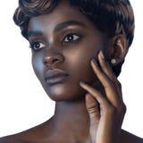 Ung härlig svart kvinna med perfekt hudmakeup för rengöring arkivbild