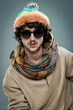 Ung hippie med allvarligt uttryck Arkivfoto