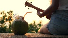 Ung hippieflicka som spelar ukulelegitarren på den härliga tropiska strandsolnedgången 4K thailand lager videofilmer