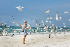 Ung härlig kvinna som håller ögonen på flyga för seagulls Royaltyfria Bilder