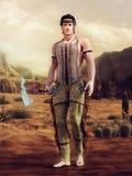 Ung indianman med en tomahawk royaltyfri foto