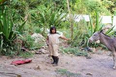 Ung infödd pojke med en åsna Royaltyfri Fotografi