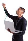 Ung inkopplingsdatorforskare en Ethernettråd Arkivbilder