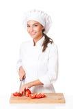 Ung kockkvinna fotografering för bildbyråer