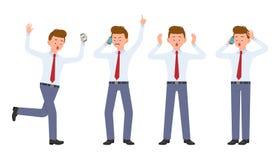 Ung kontorsarbetare i formella kläder som kör i chock och att ropa, förvånat, förbluffat och att kalla som talar stock illustrationer