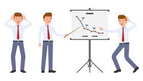 Ung kontorsarbetare som gör den chockade presentationen, förvånat, förbluffat, under trycket vektor illustrationer