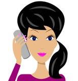 Ung kvinna för affär med telefonen i hand royaltyfri illustrationer