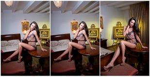 Ung kvinna för härlig och sexig brunett som bär en provokativ damunderkläder som inomhus poserar. Modeforsdamunderkläder. Sexig un Royaltyfria Foton