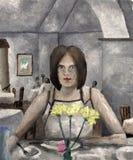 Ung kvinna för olje- målning i kafé royaltyfri foto