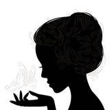 Ung kvinna för profilframsida. Kontur. royaltyfri illustrationer
