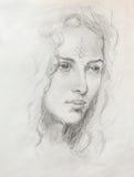 Ung kvinna för teckningsstående med prydnaden på framsidan, färgmålning på abstrakt bakgrund, datorcollage Arkivbild