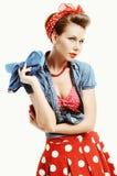 Ung kvinna för utvikningsbild i amerikansk stil för tappning Royaltyfri Bild