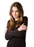 Ung kvinna i brun tröja Fotografering för Bildbyråer