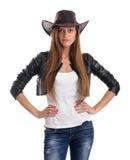 Ung kvinna i cowboyhatt royaltyfria foton