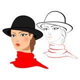 Ung kvinna i en hatt Arkivfoton