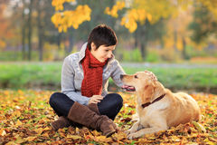 Ung kvinna i en parkera som slår hennes hund royaltyfria bilder