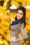 Ung kvinna i härlig höstpakr Atmosfäriska Oktober Livsstilfoto av den unga härliga damen royaltyfri bild