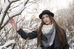Ung kvinna i härligt vinterlandskap, med halsduken och plommonstopet på Vissen hög gräsräkning vid snö royaltyfri foto