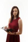 Ung kvinna i klänning Fotografering för Bildbyråer