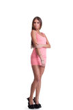 Ung kvinna i rosa klänning Arkivbilder
