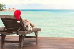 Ung kvinna i Santa Claus hattsammanträde i chaisevardagsrum på den tropiska havsstranden Fotografering för Bildbyråer