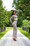 Ung kvinna i sexig lång grå färgklänning Fotografering för Bildbyråer
