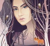 Ung kvinna i skogen (modernaturen) Arkivbilder
