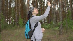 Ung kvinna i skogen som försöker att fånga en mobil signal arkivfilmer