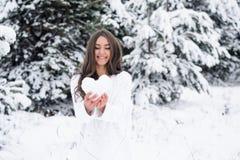 Ung kvinna i vinterskogen som rymmer en hjärta från snön och set Royaltyfria Bilder