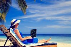 Ung kvinna med bärbara datorn på den tropiska stranden Royaltyfri Foto
