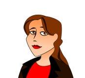 Ung kvinna med brunt hår royaltyfri illustrationer